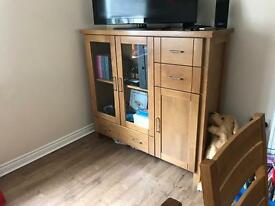 Solid oak disply unit