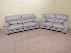 'SHADES' 3&2 SEATERS 100% LEATHER IN SILVER GREY COLOUR EX DISPLAY SUITE