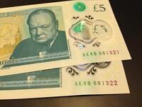 New AK48 serial £5 Bank notes