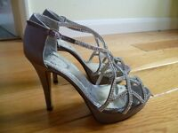 Prom, Ball, Wedding Diamante/Silver Satin High Heel Sandals and Clutch Bag