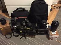 Complete Nikon D5500 kit with 4 lenses and accessories