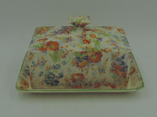 Vintage James Kent Chintz Harmony Butter/Cheese Dish Plate Yellow Roses