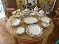 Minton Blue Grasmere 39 piece (6 place) dinner/tea service c 1981