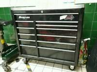"""Snap on 40"""" roll cab, tool box, with stainless steel work top and blue point socket tray"""