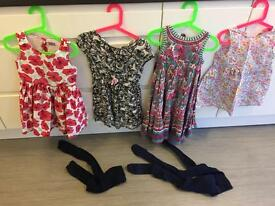 4 girls dresses and 3 pairs of tights age 4-5