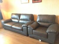 Grey leather sofa an chair