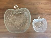 Glass Apple shaped desert bowls. 1 large , 6 regular