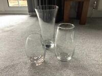 THREE LARGE DARTINGTON CRYSTAL GLASS VASES