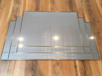 Handcrafted Art Deco Beveled Overmantle Mirror - 99 by 65cm