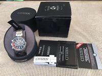 Citizen Men's Eco Drive Orange and Black Chronograph Watch Brand New