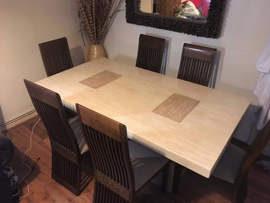 Grand Ivory Solid Marble Dining Table with SIX Chairs from ScS | in ...