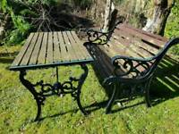 Traditional metal bench x 2 and table ends SOLD PENDING COLLECTION TONIGHT