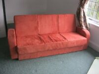 QUALITY MODERN SUEDE SOFA BED.'TERRACOTTA RED' 3 SEATER SOFA INTO DOUBLE BED. DELIVERY POS