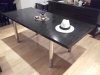 Vintage Habitat Black Ash Dining Table with Chrome legs