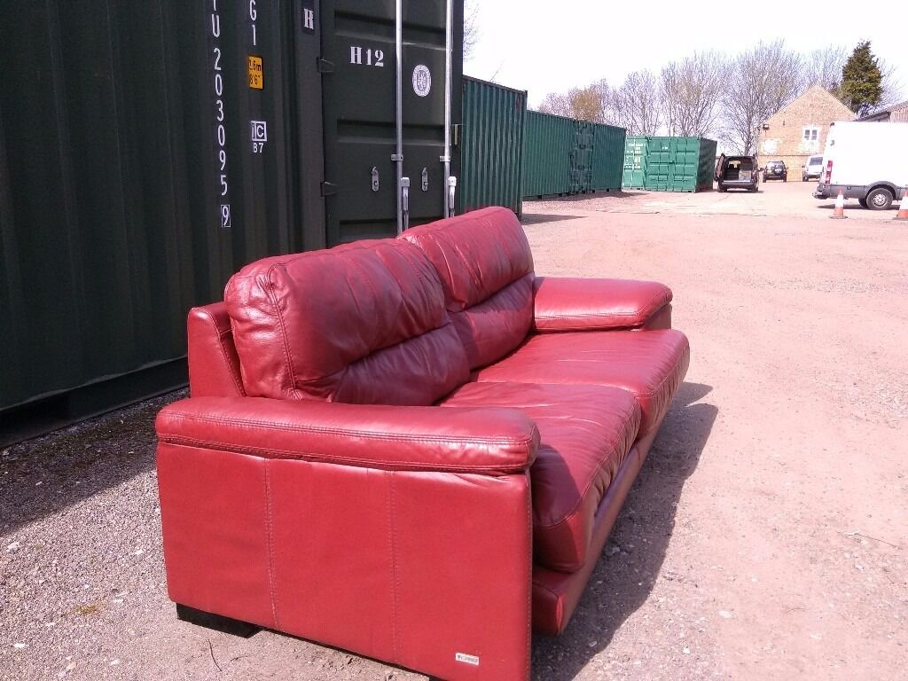 Violino Red Leather Sofa 4 Seater For Sale In Very Good