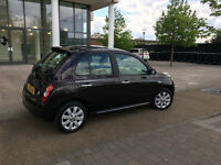 58 reg 2008 nissain micra 1.2 5 door black, 1 lady owner, 64k, 9 stamps nissan, hpi cleaR 100%