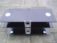LARGE BLACK SMOKED GLASS TV STAND
