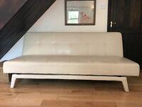 Faux Leather Sofa Bed Cream