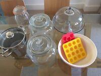 Le Parfait Jar, Mixing Bowl, Cake Stand, 2 large Jars, Pasta Pot
