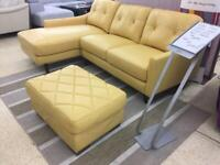 Fabb Daisy left hand facing chaise corner sofa with footstool.
