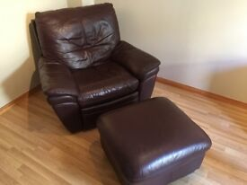 Leather electric recliner chair with Pouffe