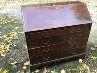 Antique Mahogany Bureau Writing Desk Chest Drawers - Vintage - Annie Sloan Project