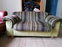 Green striped sofa