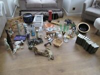 CAR BOOT LOT, ASSORTED HOUSEHOLD GOODS ALL VGC JEWELLERY, CAT FIGURES, PICTURE LIGHT, COFFEE SET,etc