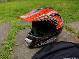 Motorcycle wulf Motocross style road legal helmet & wulf goggles.