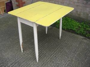 Formica Drop Leaf  Table - Yellow & White - Vintage 1950s 60s - PALLET DELIVERY