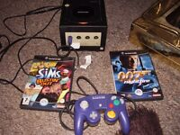 NINTENDO GAMECUBE WITH GAMES AND NEW 16 MEG MEMORY CARD