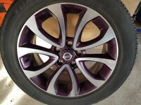 nissan juke alloy wheels, purple, OEM, with tyres set of four as new 7mm tread