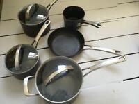 Raymond Blanc Professional Hard Anodised Cookware Set , 5-Piece - saucepans, milk pan and frying pan