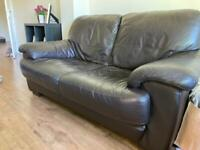 Leather armchair & 2 x 2 seat settee