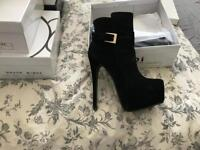 Black Suede heeled ankle boots Size 6