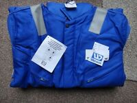 Thermal coverall New size 44 inch Wennas blue flame retardent with reflective stripes