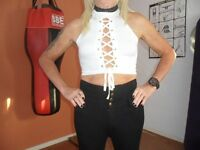 NEW LACE UP CROP TOP IN WHITE SIZE 10-12 UK