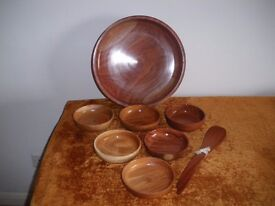 "WOODEN SALAD BOWL WITH SIX BOWLS WITH TWO 12"" SALAD SERVERS (NEW)"