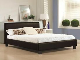 Brand New Furniture (4ft6inch) Double & (5ft)King Size Leather Bed Frame With Opt Mattress-