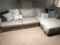 Next Large Leather Corner Sofa Cream Beige Used in Very Good Condition (3.5m x 1.7m)