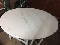 OAK GATE LEG TABLE painted white, distressed look