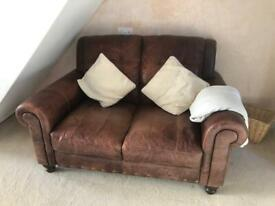 Great quality brown leather sofa