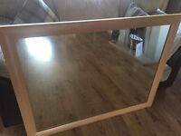 LARGE BEECH EFFECT WALL MIRROR FOR SALE