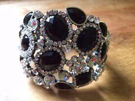 Diamante and black stone costume jewellery bracelet