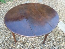 18th century dark oak drop leaf table