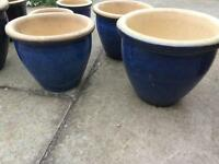Blue Ceramic Planters x 8, Large, Medium & Small