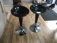 Chrome and black bar stools