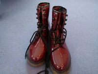 Ladies burgundy patent boots. Atmosphere. Size 5. Never worn