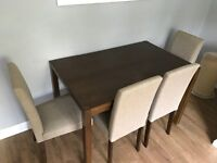 Dining table and chairs brand new 2weeks old