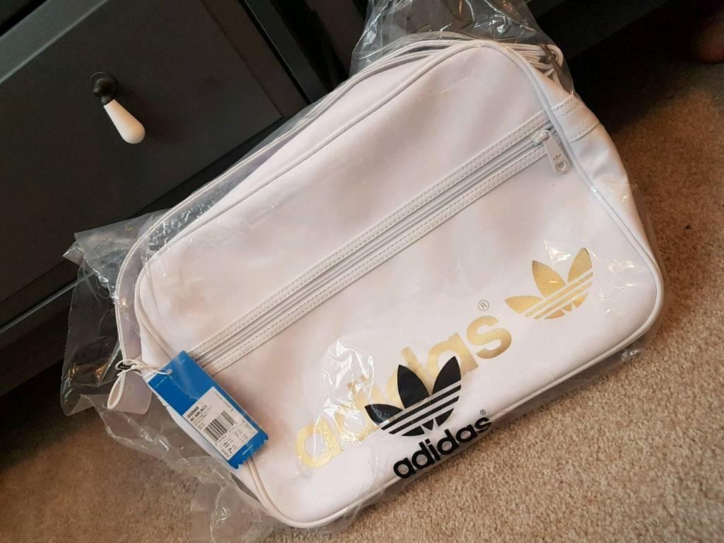 d27c1fa31235 Rare genuine Adidas originals ac airliner bag in white metallic gold  vintage bnwt